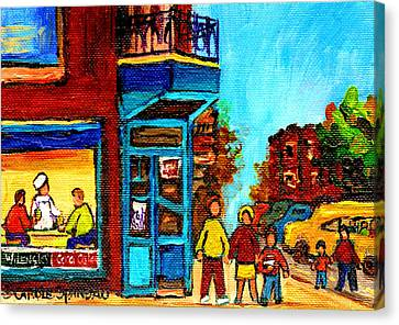Wilensky's Lunch Counter With School Bus Montreal Street Scene Canvas Print by Carole Spandau