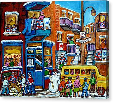 Wilensky's Montreal Memories Yellow Schoolbus Snowman Staircase Hockey Art Carole Spandau Canvas Print by Carole Spandau