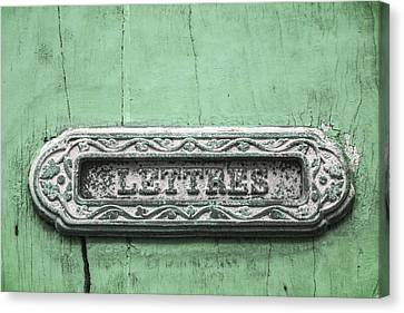 Will You Write - Jade Green Letter Box Canvas Print by Georgia Fowler
