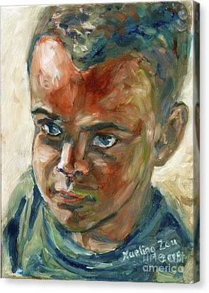 Canvas Print featuring the painting Willful Boy by Xueling Zou