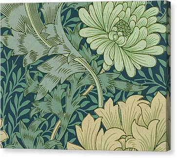 William Morris Wallpaper Sample With Chrysanthemum Canvas Print