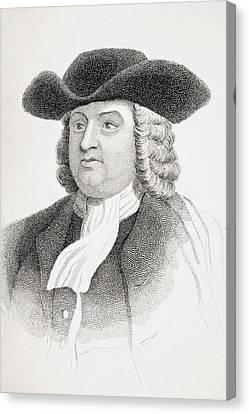 William Penn 1644-1718 English Quaker Canvas Print by Vintage Design Pics