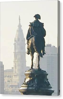 William Penn And George Washington - Philadelphia Canvas Print by Bill Cannon