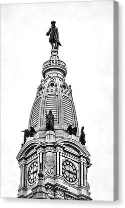 William Penn Statue Atop Philadelphia City Hall Canvas Print by Olivier Le Queinec