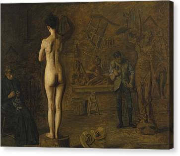 William Rush Carving His Allegorical Figure Of The Schuylkill River Canvas Print