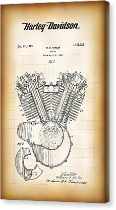 Combustion Canvas Print - William S. Harley's V-twin Engine Patent 1923 by Daniel Hagerman