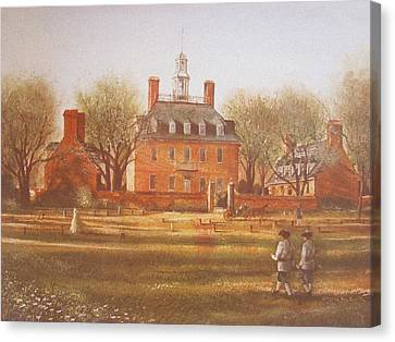 Colonial Canvas Print - Williamsburg Governors Palace by Charles Roy Smith