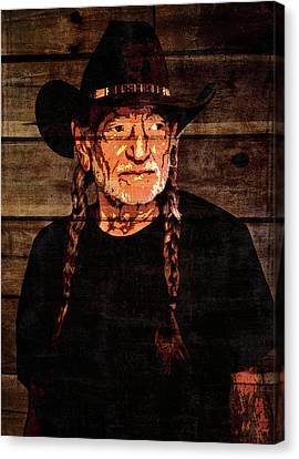 Willie Nelson Grunge Barn Door Canvas Print by Dan Sproul