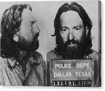 Willie Nelson Mug Shot Horizontal Black And White Canvas Print