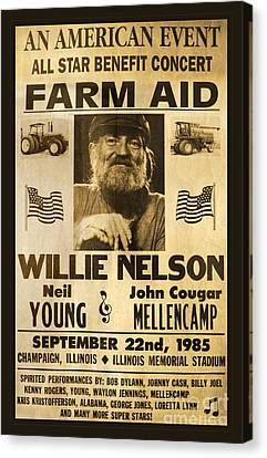 Willie Nelson Neil Young 1985 Farm Aid Poster Canvas Print by John Stephens