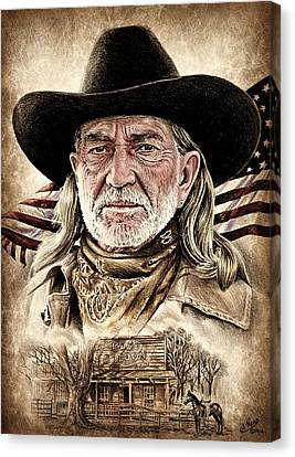 Flag Day Canvas Print - Willie Nelson Pozo Saloon American West Edit By Andrew Read by Andrew Read