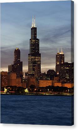Willis Tower At Dusk Aka Sears Tower Canvas Print by Adam Romanowicz
