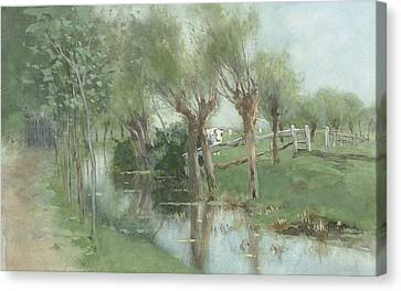 Willows In A Ditch Canvas Print by Geo Poggenbeek