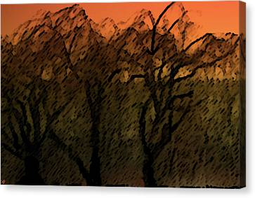 Aesthetic Landscape Image Canvas Print - Willows Of Sunrise by Debra     Vatalaro
