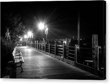 Wilmington Riverwalk At Night In Black And White Canvas Print by Greg Mimbs