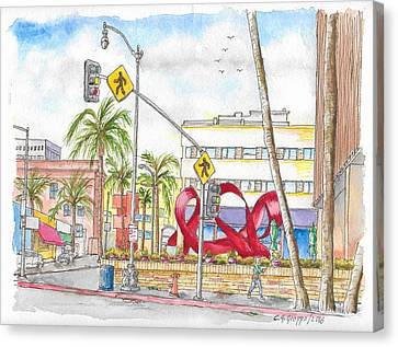 Wilshire Blvd. And Camden Dr, Charles Perry Sculpture, Beverly Hills, California Canvas Print by Carlos G Groppa