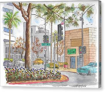 Wilshire Blvd. And Camden Dr., First Republic Bank In Beverly Hills, Ca Canvas Print by Carlos G Groppa