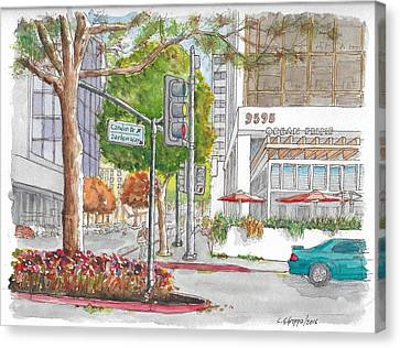 Wilshire Blvd. And Camden Dr. In Beverly Hills, California Canvas Print by Carlos G Groppa