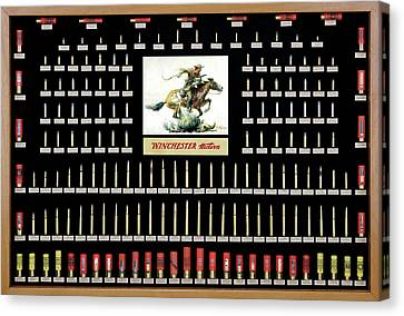Winchester Ammunition Cartridge Board Canvas Print by Unknown