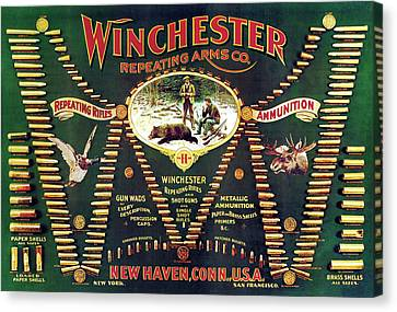 Winchester Double W Cartridge Board Canvas Print by Unknown