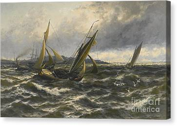 Wind And Sea Rising Off The Isle Of Sheppey Canvas Print by MotionAge Designs