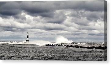 Wind And Waves At Holland Harbor Canvas Print by Michelle Calkins