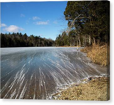 Wind Blown Ice Lake Canvas Print