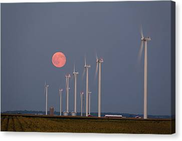 Wind Farm Moonrise Canvas Print by Alexey Stiop