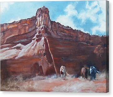 Canvas Print featuring the painting Wind Horse Canyon by Karen Kennedy Chatham
