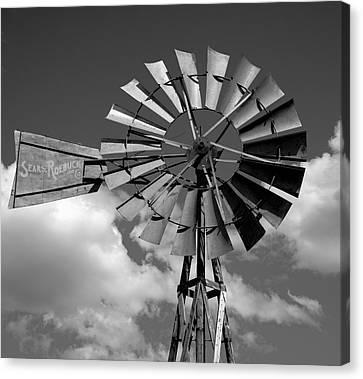 Wind Power On The Farm Canvas Print by Daniel Hagerman