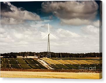 Wind Powered Turbine On Australian Farm Landscape Canvas Print by Jorgo Photography - Wall Art Gallery