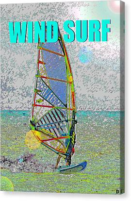 Wind Surf Smart Phone Blue Text Canvas Print by David Lee Thompson