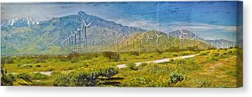Canvas Print featuring the photograph Wind Turbine Farm Palm Springs Ca by David Zanzinger