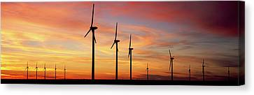 Wind Turbines Canvas Print - Wind Turbine In The Barren Landscape by Panoramic Images