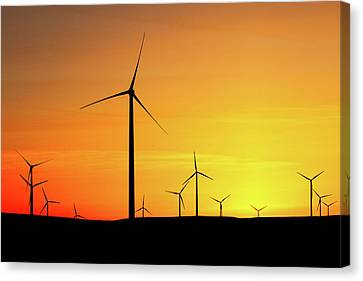 Wind Turbines Canvas Print - Wind Turbines Silhouette by Todd Klassy