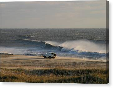 Wind, Waves And Fisherman In An Suv Canvas Print by Skip Brown