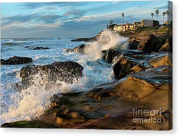 Canvas Print featuring the photograph Windansea Beach At High Tide by Eddie Yerkish