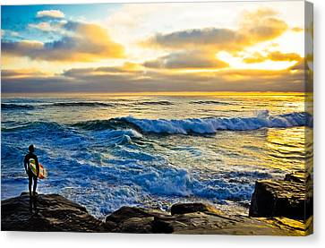 Windansea Sunset Surfer Canvas Print