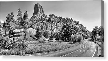 Winding Around Devils Tower Black And White Canvas Print by Adam Jewell