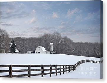 Split Rail Fence Canvas Print - Winding Fence Farm by Benanne Stiens