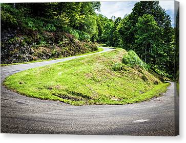 Canvas Print featuring the photograph Winding Road With Sharp Bend Going Up The Mountain by Semmick Photo