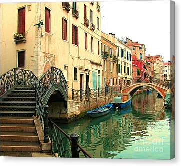 Winding Through The Watery Streets Of Venice Canvas Print by Barbie Corbett-Newmin