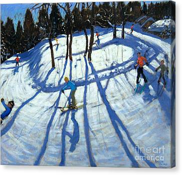 Winding Trail Morzine Canvas Print by Andrew Macara