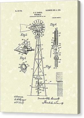 Windmill 1906 Patent Art Canvas Print