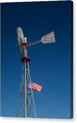 Windmill Moon And American Flag Canvas Print