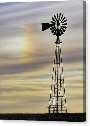 Windmill And Sun Dog Canvas Print