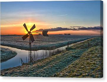 Windmill At Sunrise Canvas Print