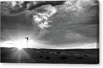 Canvas Print featuring the photograph Windmill At Sunset by Monte Stevens