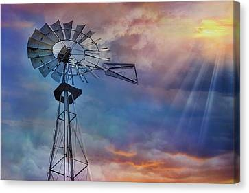 Canvas Print featuring the photograph Windmill At Sunset by Susan Candelario