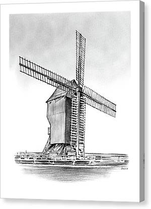 Windmill At Valmy Canvas Print by Greg Joens